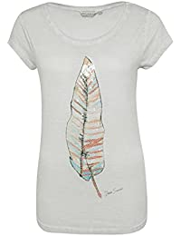 Urban Surface Damen T-Shirt mit Federprint & transparenten Pailletten | Leichtes Shirt im Vintage Look
