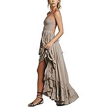 HorBous Robe Longue de Plage Boheme Style Robe Chic Femme Robe à Bretelle  Plissee sans Manches bee9dc336bc7