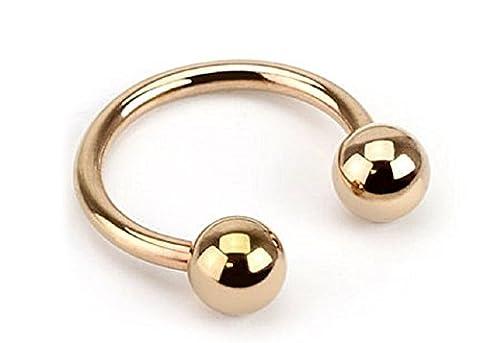Bodya 2 Bijoux de corps Anneaux pour lèvres sourcils Barres circulaires Fer à cheval Acier doré 10mm Boule de 3mm 18g