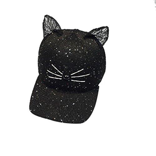 Sombreros de mujer Switchali moda Gorras de béisbol para adultos linda Oído de gato Gorra Casual Al aire libre Deportes El Snapback Lentejuela Sombreros de Hip Hop Gorra de sol barato (Negro)