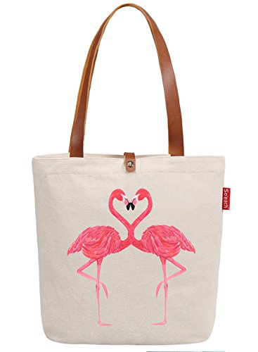 Handle Top Bag (So'each Women's Animal Flamingo Graphic Top Handle Canvas Tote Shoulder Bag)