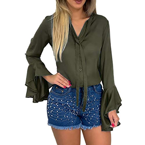 BIKETAFUWY Damen Trompetenärmel Elegant Causal Chiffon Bluse Hemd Tunika Oberteil V-Ausschnitt Button-Down Freizeit Langarmshirt Mode Damen Bluse Shirt Bekleidung -