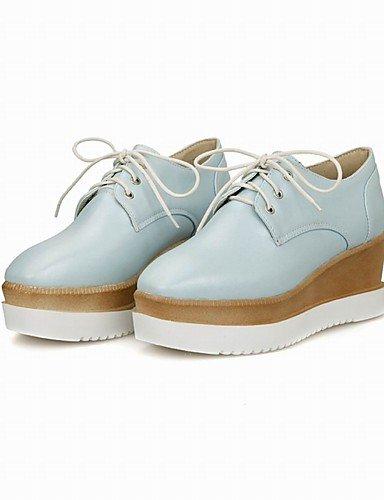 WSS 2016 Chaussures Femme-Bureau & Travail / Habillé / Décontracté-Bleu / Rose / Blanc-Talon Compensé-Compensées / Talons / A Plateau / Bout Carré- white-us5 / eu35 / uk3 / cn34