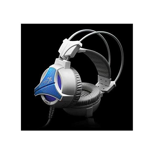 ikrofon für PS4, Xbox One, PC, 3,5 mm Surround-Stereo-Spiel-Kopfhörer mit Geräuschunterdrückung, LED-Leuchten und weichen Memory-Ohrenschützern für Laptop Weiß weiß ()