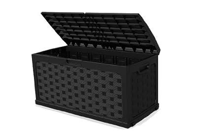 XL Kissenbox, Auflagenbox, Bank im Rattan-Design und mit 270 Ltr. Volumen! Mit abschließbarem Deckel, auch zum Sitzen geeignet. In einem dunklen Anthrazit Grau gehalten. Maße 117 x 56 x 58 cm ! TOPP von Starplast