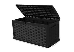 xl kissenbox auflagenbox bank im rattan design und mit 270 ltr volumen mit abschlie barem. Black Bedroom Furniture Sets. Home Design Ideas