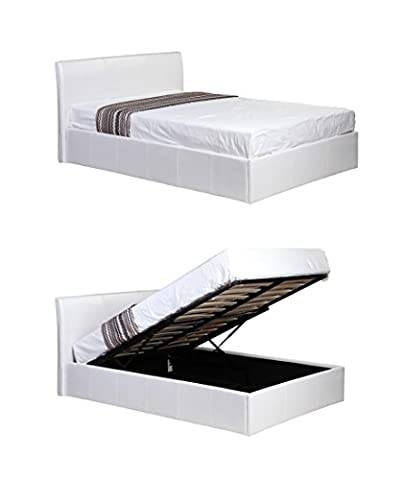 4ft6 Double White Ottoman Lift Up Storage Faux Leather Bed - Also available in Black or Brown - Master Bedroom Childrens Bedroom Teens Bedroom Guest Bedroom - Perfect for storing Shoes DVD's Bedding Clothes