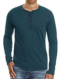 49e4b52c37b Cyiozlir Homme T-Shirt Manches Longues Shirt Manche Courte Tee Shirt Col  Tunisien Uni Henley