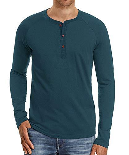 Henley-shirt (Cyiozlir Herren Langarmshirt Knopfleiste mit Grandad-Ausschnitt Longsleeve Shirt Premium T-Shirt Langarm Henley Shirt für Männer (Dunkelblau,Medium))