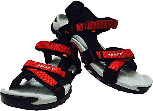 Sparx Men's Black and Red Sandals (SS-447) (10 UK)