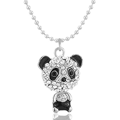 MESE London Diamond Panda Necklace Swarowski Crystals Pendant - Elegant Gift Box