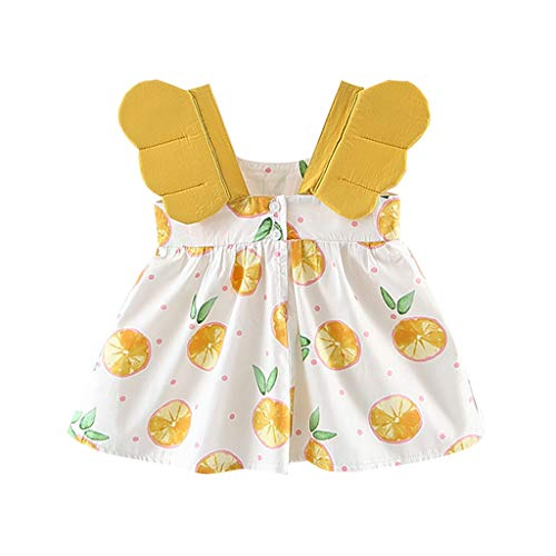 EvansampToddler Baby Girls Kleid, Kleid Für Tochter Obst Peach Printing Sommer Prinzessin Kleid(Gelb,80/7/8) (Prinzessin Peach Trikot)