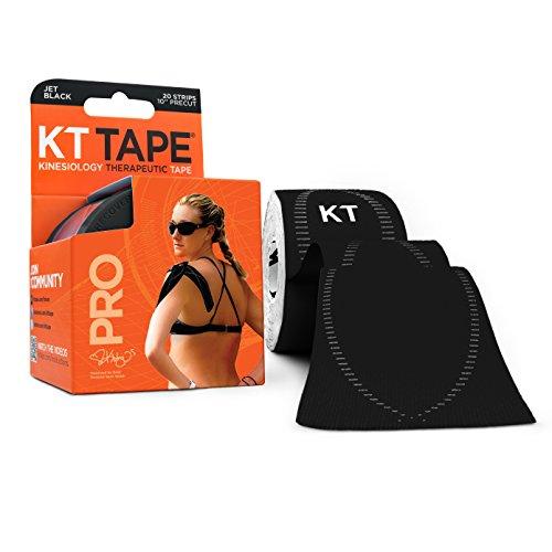 KT Tape PRO 20Streifen aus Synthetik vorgeschnittenen Kinesiologie M Jet Black (Usa Athletic Tape)