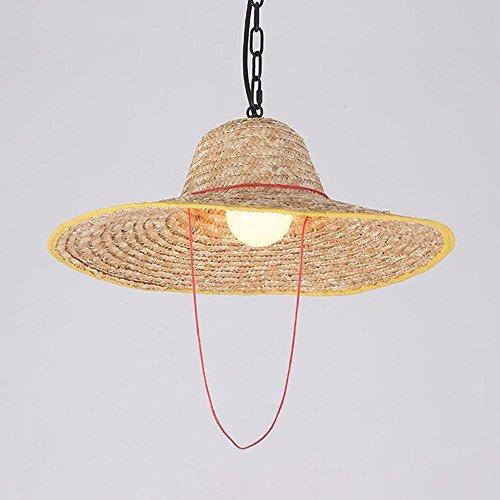 Lumières suspendues Village postmoderne Nostalgie Chapeau en paille en bambou Lampe décorative pour couloir, chaîne de l'allée réglable Ø47CM