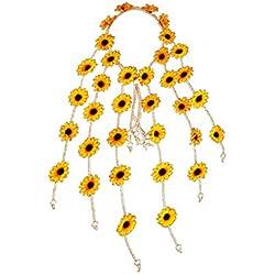 Lurrose Diadema Hippie con girasol, girasol, girasol, girasoles ajustables, con banda de flores para mujeres y niñas (amarillo)