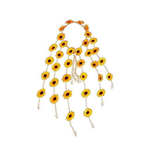 Frcolor Sonnenblumen Stirnband einstellbar Blumen Haarband mit lose Knoten und mehrere Blumen (gelb)