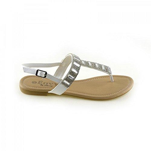 Damen-Mode-Sommer-Sandalen-Classic-Party-Looks Weiß