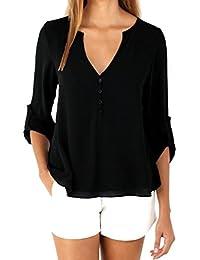 FEITONG Para mujer suelta de manga larga Ocasional de la gasa blusa de la camisa de la blusa manera de las tapas 4 colores