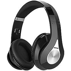 Mpow 059 Casque Bluetooth sans Fil sur l'Oreille, [Jusqu'à 20 Heures] Casque Stéréo sans Fil Hi-FI, Pliable, Protège-Oreilles Mous de Protéines, Microphone et pour PC/Téléphones Portables/TV/Tablette