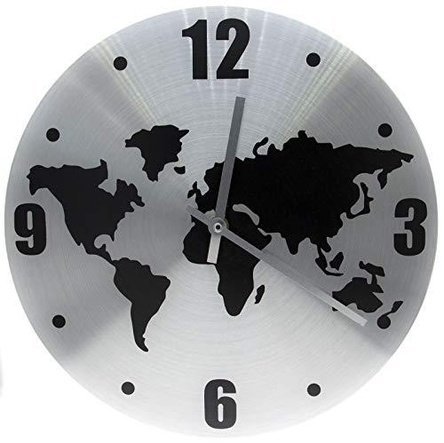 Reloj de pared Redondo de Aluminio D 30cm, relojes de pared con mapamundi, Forma redonda, para Dormitorio, Cocina, Salón, etc. gris
