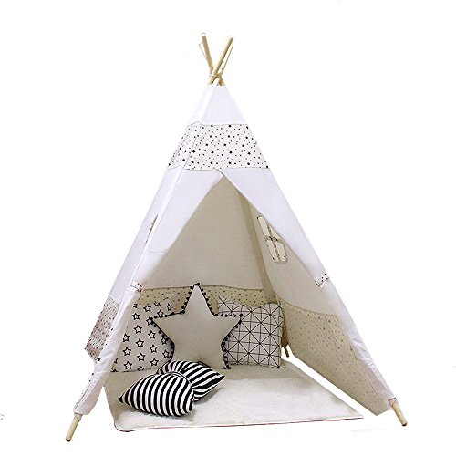 ACTNOW Kids Teepee Tent Indian Play Tent Children's Playhouse for Outdoor and Indoor Play 120*120*140cm