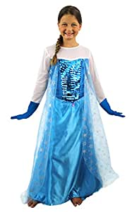 Longue robe de costume bleue pour enfant de la reine des - Robe reine des glaces ...