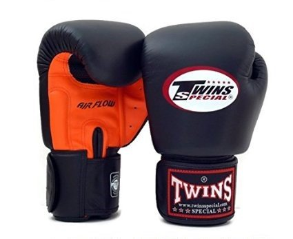 Twins Boxhandschuhe AIR FLOW 100% Rindsleder Farbe schwarz und orange 14oz -