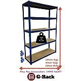 180cm x 120cm x 40cm, color azul de 5pisos (175kg por estante), 875kg capacidad Extra ancho garaje cobertizo de almacenamiento estantería, 5años de garantía