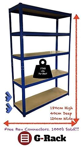 180cm x 120cm x 40cm, Bleu 5étages (175kg par étagère), capacité de 875kg Extra Large Garage Abri de jardin Etagere de rangement, 5ans de garantie