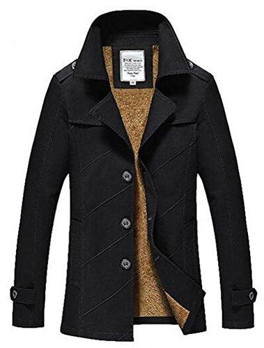 MatchLife Homme Militaire Slim Fit Trench Parka Manteau Style2-noir Fourrure
