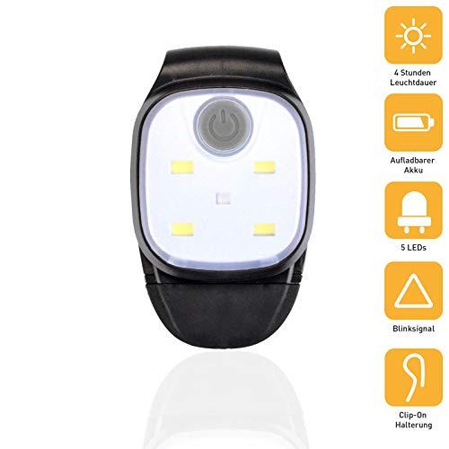 X4-LIFE LED Clip-Leuchte - 100mAh Akku per USB wiederaufladbar - Stirnlampe Kopflampe Jogginglampe Lauflampe - für Sportler, Kinder und sogar Hunde