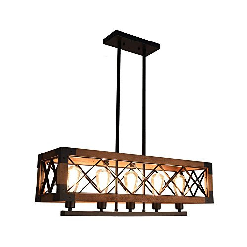 Fünf-licht-leuchter-glühlampen (WENYAO Hölzerne helle Leuchter E27 5 helles Retro hängendes Licht für Küchen-Insel-Esszimmer-Restaurant (ohne Glühlampe), Braun)