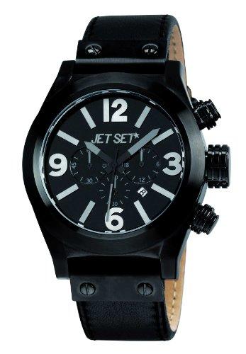 Jet Set J1911B-267 - Reloj cronógrafo de cuarzo para hombre con correa de piel, color negro