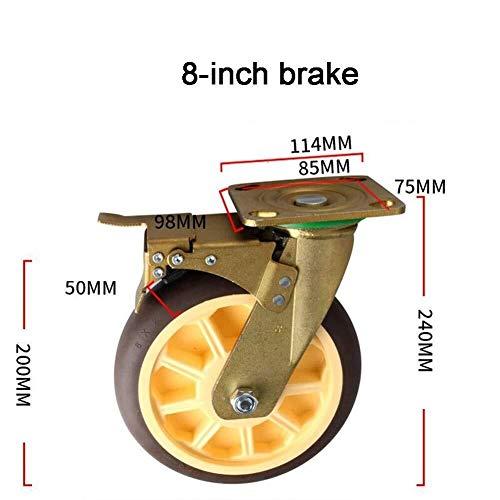 W-h-e-e-l-s Ruota Industriale da 4/5/6/8 Pollici, Ruota Muto for Auto Resistente all'Usura e Muto (Color : 8 inch, Size : Brake)