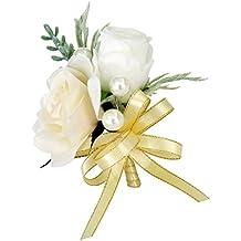 Sharplace Homme Boutonnière Costume Mariage Broche Fleur à Ruban Accessoire Marié - Champagne