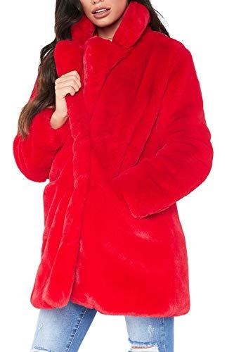Zonsaoja Damen Kunstpelz Mantel Verdicken Pelzmantel Flaumig Warme Outwear Elegant Winter rot XXL