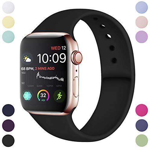 Hamile Armband Kompatibel für Apple Watch 38mm 40mm, Weiche Silikon Wasserdicht Ersatz Uhrenarmbänder für Apple Watch Series 5, Series 4, Series 3, Series 2, Series 1, S/M Schwarz