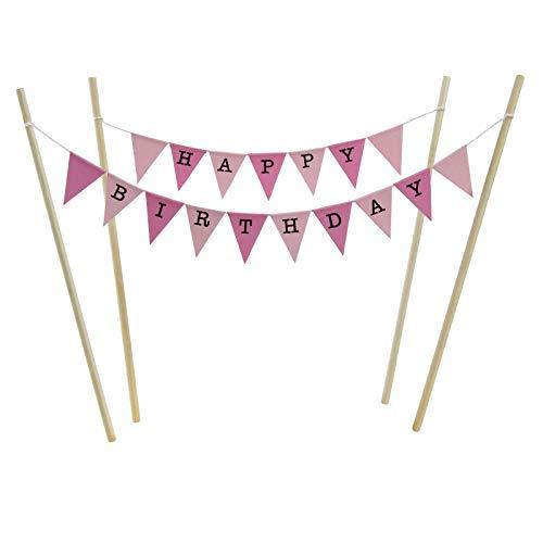 Bambus-stick (amazing buntings Kuchen Deckel Set, Rosa Pastell Kleine Fahnen mit 4 Bambus Sticks)
