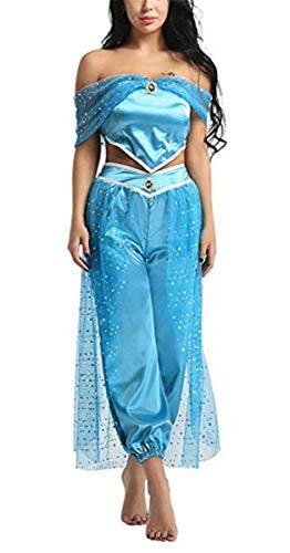 EMIN Prinzessin Jasmine Kostüm Erwachsene Damen Verkleidung Schick Party Kleider Halloween Karneval Cosplay Geburtstag Ankleiden Kleidung Pailletten Klassisch Prinzessin Ankleiden Kostüm Outfit - Jasmine Für Erwachsene Kostüm