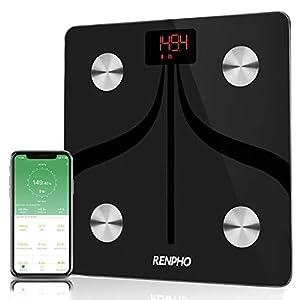 RENPHO Körperfettwaage, Bluetooth Personenwaage mit App, Smart Digitale Waage für Körperfett, BMI, Gewicht, Muskelmasse, Wasser, Durch USB Kabel Wiederaufladbare Körperanalysewaagen 30 x 30 cm