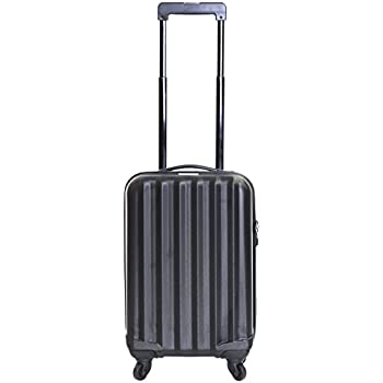 Karabar Monaco Super Lightweight ABS Hard Shell Travel Carry On Cabin Hand Luggage Suitcase with 4 Wheels, Approved for Ryanair, EasyJet, British Airways, Virgin Atlantic, Flybe and More, Black