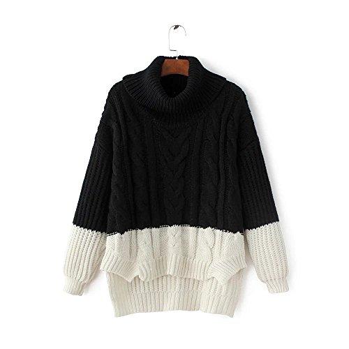 HUA&X Regroupement de femmes col rond Top Pull chandail tricoté de cavalier Black