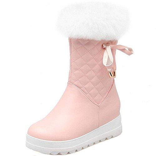 Femmes TAOFFEN pink Fourrure Bottes Fermeture Eclair Synthetique OxfSPqRx