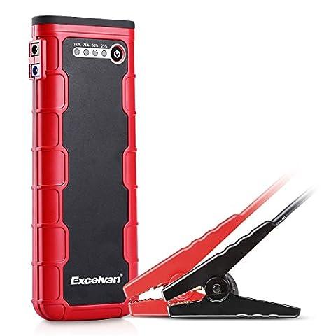 Excelvan 18000mAh 12V 800A Car Jump Starter Portable Démarreur de Voiture Booster Batterie Alimentation avec Dual Port USB - Rouge et Noir