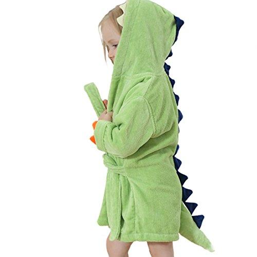 GWELL Kinder Baby Bademantel mit Kapuze Badetuch Kapuzenhandtuch Schlafanzug Nachtwäsche aus Samt Tier Dinosaurier Motiv für Mädchen Jungen Grün 3-6 Jahre