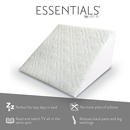 Loft 25® Essentials Flex Foam Support Bed Wedge with Removeable Washable Quilted Cover. Designed for 2 way Comfort and Posture Support. 1 Pack. Read, Work or Lounge in Bed Comfortably!