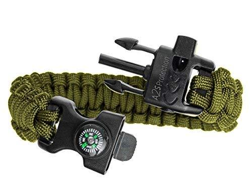 Imagen de  a2s proteccion paracord pulsera k2 peak  juego de equipo de supervivencia con brújula integrada, encendedor de fuego, cuchillo de emergencia y silbato verde/verde  alternativa