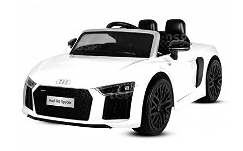 Elektro Kinderfahrzeug Audi R8 Spyder Comfort Kinderauto Lizenz Kinder Elektro Auto Kidcar 2x 35W mit Musik und Soundeffekten LED Scheinwerfer Multifunktion Lenkrad mit Hupe 3 Geschwindigkeits-Stufen (Weiß)