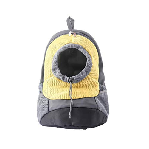 YueLian Haustier-Hunde-Rucksack, tragbar, Outdoor, Reisen mit Tasche, Haustier Rucksack Welpe-Tasche für kleine Hunde, für Outdoor-Reisen, atmungsaktiv(Gelb,L)