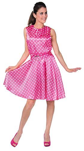 Brandsseller Damen Kostüm Rock n Roll Verkleidung Karneval Party Fasching Junggesellinnenabschied Pink L (Halloween Rock N Roll Kostüm)